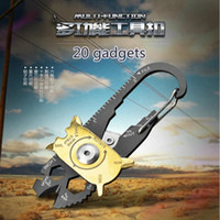 Wholesale Combination Square Tool - Outdoor multifunctional camping tool card mountaineering hook stainless steel combination 20 in one saber card equipped with key buckle