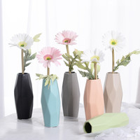 Wholesale Ceramic Vase Free Shipping - free shipping 2017 Scandinavian modern minimalist ceramic exquisite vase fashion home decors flower ornaments Cylinder Vases 6 colors