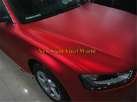 Wholesale red matte cars resale online - High Quality Matte Satin Chrome Red Vinyl Car Wrap Film Foil Bubble Free For Car Wrapping