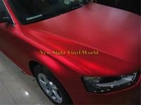coche envuelto cromo rojo al por mayor-La alta calidad mate satinado rojo vinilo coche envoltura película película burbuja libre para envoltura de coche