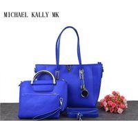 Wholesale Michael Set - 3 SET fashionwomen famous designer MICHAEL KALLY bags brand casual handbags with small bag lady shoulder tote handbag Travel bag purse 8338