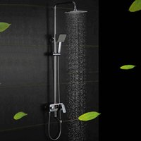 Wholesale Shower Set Temperature - temperature display Chrome Finished Bathroom Shower Sets with 8 Inch Shower Head and Hand Shower Design Faucet