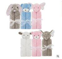 Barato Urso De Elefante-Cobertores Presentes de Natal Rabbit Bear Elephant Plush Baby Bedding Coral Fleece Animal Toy Head Blanket Baby Blankets 76 * 76cm Frete Grátis