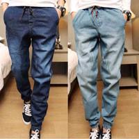 calça jeans para homens venda por atacado-Nova Moda Mens Jeans Denim Homens Com Cordão Slim Fit Denim Corredores Mens Corredores Calça Jeans Stretch Elastic Jean Lápis Calça Casual