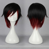 Japonês Anime Ruby Rose Black Red Mixed 35cm Short Man Cosplay Wig