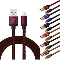 câble en cuir achat en gros de-1 m 3FT 25 CM Micro V8 5 broches Type c alliage de cuir usb données câble de chargement câble chargeur rapide pour samsung s4 s6 s7 s8 note 2 4 htc lg