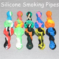 Wholesale Tools Scrap - 10 colors silicone hand pipe have dropped with glass bowl pieces scrapping tool and stash jar built in 4.0inch smoking hand pipes