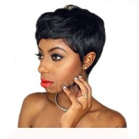 Wholesale cheap celebrity hair - Celebrity Cheap Pixie Cut Human Hair Very Short Wig Natural Black Human None Lace Glueless Wig For Black Women Wigs