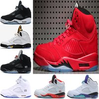 Wholesale Grape Basket - 2017 air retro 5 mens Basketball Shoes Red blue Suede Olympic metallic Gold OG Black Metallic Fire Red white Grape Cement Sports shoes