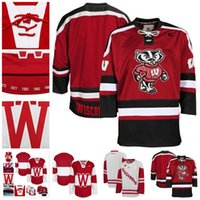 Wholesale Blue Badger - Customize Mens NCAA Wisconsin Badgers College Hockey Jerseys adults White Red Stithed Wisconsin Badgers Jersey S-3XL