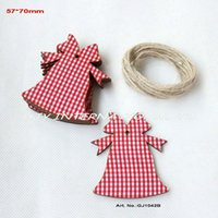 Wholesale Wishing Tree Tags - Wholesale- (40pcs lot) 70mm checked fabric topper wooden back Christmas wishing tree bell tags crafts  ornaments  tag free strings-GJ1042B