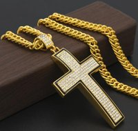 Wholesale Gold Curved Cross - men man hiphop Nightclub gold silver Curved simple cross pendant necklace Black edge CROSS with rhinestone fashion bling jewelry accessories