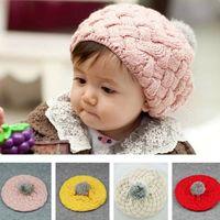 boina roja de las niñas al por mayor-Casquillos de los niños del bebé de Apple boinas de lana sombreros para la muchacha Rosa Beige Rojo Amarillo 50pcs / lot CC582