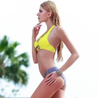 Wholesale Yellow Black Swim Wear - 2017 New Sexy Bikini Push Up Swimwear Women Swimsuit Retro Vintage Bikini Set Beach Plus Size Bathing Suits Swim Wear