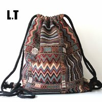 Wholesale Gypsy Chic - Wholesale- 2017 Women Vintage Backpack Female Gypsy Bohemian Boho Chic Aztec Folk Tribal Ethnic Fabric Brown String Drawstring Backpack Bag
