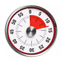 temporizador de forma al por mayor-8cm Mini Cuenta regresiva mecánica Herramienta de cocina Acero inoxidable Forma redonda Tiempo de cocción Reloj Alarma Recordatorio de temporizador magnético