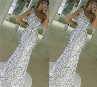 Wholesale Sparkling Party Dresses - 2017 New Sparkle Bling Silver Prom Dresses Sequins Lace Long Mermaid Sleeveless One Shoulder Floor Length Formal Evening Dress Party Gowns