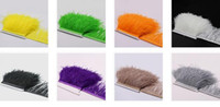 Wholesale Long Dress Ostrich Feather - 10yards lot Muticolor Long Ostrich Feather Plumes Fringe trim 10-15cm Feather Boa Stripe for Party Clothing Dress skrits Accessories Craft