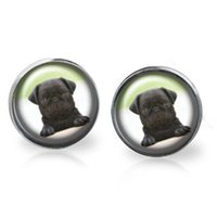 Wholesale Games Posts - 10pairs lot Dogs. PUG inspired The game is on earrings Posts Glass photo earrings stud post