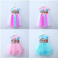 Wholesale 2017 new baby girls Moana bow dress summer cartoon Children Moana printing lace dresses Kids Clothing colors
