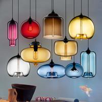 Wholesale Modern Yellow Chandelier - Modern Art glass chandelier Ceiling Lamp Pendant Lights Glass Lampshade Loft Pendant Lamps E27 Lighting Fixture