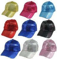 hokey yılbaşı hediyeleri toptan satış-Sequins Parti Kapaklar Beyzbol Şapkaları Pullu Noel Dekorasyon Hediye Hokeyi Seyahat Spor Çocuk Kid için Snapback Topu Unisex Şapka Visor kap