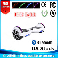 Wholesale Black White Warehouse - UL Approved Bluetooth Hoverboard Fast Free Ship From USA Warehouse With LED Light 2 wheels 6.5 Inch Electric Scooter Smart Blance Wheel
