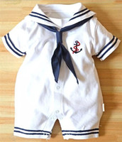 Wholesale newborn size clothing online - Newborn baby clothes White Navy Sailor uniforms summer baby rompers Short sleeve one pieces jumpsuit baby boy girl clothing
