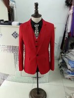 made china men suits achat en gros de-Red Colored Real Real pics Costumes hommes V-Neck manches longues Custom Made hommes tailleur usine Suruimei en Chine