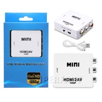Wholesale Av Converter Full Hd - Mini HDMI to AV Adapter Full HD 1080P Video Converter Mini HDMI to CVBS Converter For TV Displayer Projection with Retail Package
