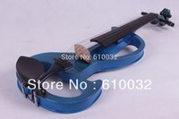 Ebony blue electric violin - Electric Violin Solid wood silvery blue color string
