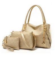Wholesale Handbag Sets - Wholesale- New Fashion women handbags leather handbag women messenger bags ladies brand designs bags Handbag+Messenger Bag+Purse 3 Sets