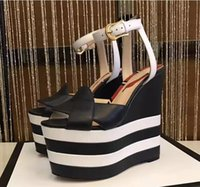 Wholesale Straw High Heeled Pumps - 2017 Brand designer style High quality Heels Platform fish mouth Pumps Women's Shoes Genuine Leather wedges nightclub fashion women's sandal