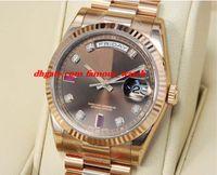 mm schokolade groihandel-Neue Mode Luxus Edelstahl Armband 41mm Schokolade Diamant Rubin Dial Everose Gold 118235 CHODRP Mechanische MANUHR Armbanduhr