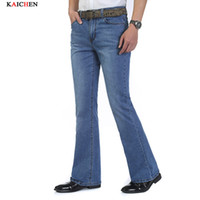 Wholesale Bell Trousers - Wholesale-High Quality New Men's Jeans Slim Bell-bottom Bootcut Pants Mens Elastic Light Blue Brand Denim Flared Trousers