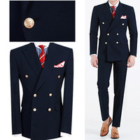 Hot Sale Tailored Navy Bule double breasted Men Suit CostumeSlim Fit Formal Wedding / Groom Tuxedos Costumes de bal (veste + pantalons + cravate)