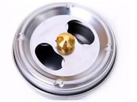 barriles de acero libre al por mayor-Eco-Friendly 10 cm de acero inoxidable Cenicero con la tapa cerrada rotación Función de humos del envío Cenicero de hollín barril de DHL