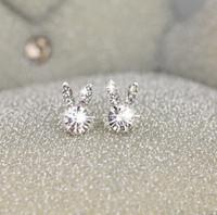 Wholesale Earring Bags - South Korea rabbit ear Earrings Sterling Silver sweet temperament women 2017 new pearl earrings earrings small jewelry simple mail bag