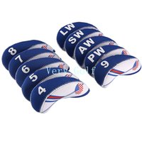 10X Golf White Blue USA Drapeau Neoprene Golf Club Iron Head Cover Wedge Iron Protective Headcover