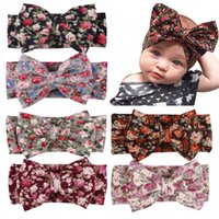 Wholesale brown hair flowers - Newborn contton floral Hairband Rabbit Bowknot Headband Kids Headwear Flowers Printed YL