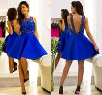 Wholesale Cheap Sexy Clubwear Dresses - Vintage Royal Blue Homecoming Dress Short 2017 Jewel Sleeveless Zipper A Line Black Girl Cocktail Party Clubwear Graduation Gowns Cheap