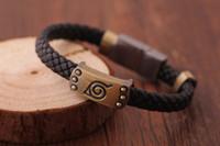 Wholesale Magnetic Rings Bracelets Wholesale - 2017 wholesale naruto wooden leaf logo retro bracelet magnetic buckle hand ring free shipping hot sale