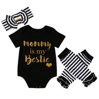 Wholesale short legging kids summer - Newborn Baby Girls Christmas Boutique Kids Clothes Rompers Onesies Children Blouser Toddler Christmas Pajamas Outfit Leg Warmer Headband