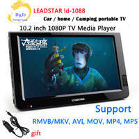 Wholesale Inch Led Vga - LEADSTAR LD-1088 10.2 inch Mini TV LED Portable tv HD display Built in lithium battery Led TV HD Player Support HDMI VGA USB SD LCD car