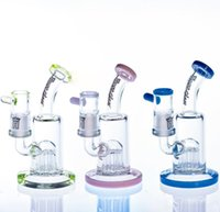 Wholesale Mini Water Colour - Newest Colour Mini hand Glass bongs perc with arm tree Perc hoss glass water pipe Micro Rig 14 mm joint