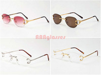 Wholesale Plain Goggles - Lunettes De Soleil De Marque Homme Gold Silver Rimless Metal Oval Buffalo Sunglasses Plain Mirror Glasses CA52953-2 Size: 51-19-135mm