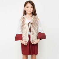 Wholesale Big Coat Belts - Big Girls Waistcoat Autumn Winter Warm Coats Vest Sleeveless Fur Tops Bowknot Belt High Quality Kids Girl Jacket Coat Latte Seal A7384