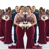 Wholesale wedding dresses waist sash online - African Burgundy Long Bridesmaid Dresses Lace Appliques Beaded Waist Mermaid Maid Of Honor Gowns Wedding Guest Formal Party Dress Cheap