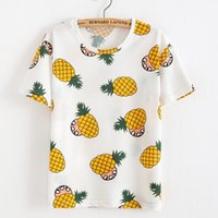 Wholesale Tshirt Casual Sweet - Wholesale-2016 Summer Women Korean Sweet T shirt Fruit Pineapple T-shirt O-neck Casual Short Sleeve Tee Tops Female Tshirt Woman Clothes