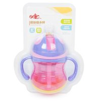 Atacado- 2016 Hot Selling 300ml Kids baby Cute Cup Children Learn Straw Sippy Water Handle Bottle School Drinking Cup